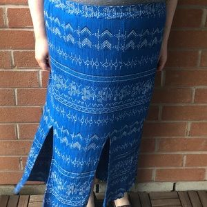 Penningtons bright blue long skirt with slits